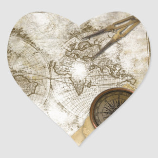 Vintage World Map And Tools Heart Sticker