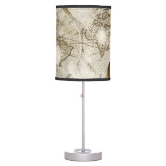 Vintage World Map And Tools Table Lamp