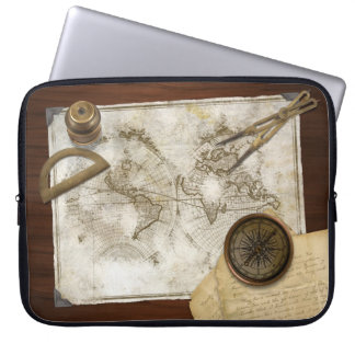 Vintage World Map And Tools Laptop Sleeve