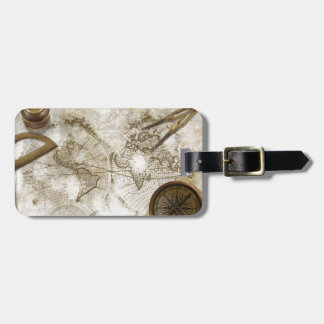 Vintage World Map And Tools Tags For Luggage