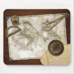 Vintage World Map And Tools Mouse Pad