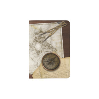 Vintage World Map And Tools Passport Holder