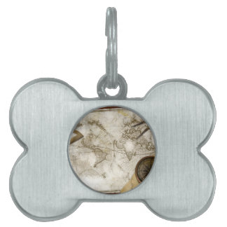 Vintage World Map And Tools Pet Tag