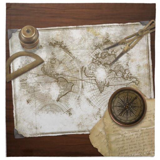 Vintage World Map And Tools Printed Napkins