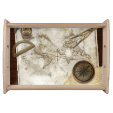 Vintage World Map And Tools Serving Tray