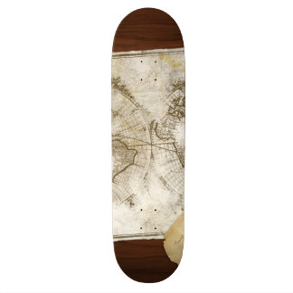 Vintage World Map And Tools Skateboard Deck