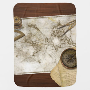World map baby blankets zazzle vintage world map and tools swaddle blanket gumiabroncs Gallery