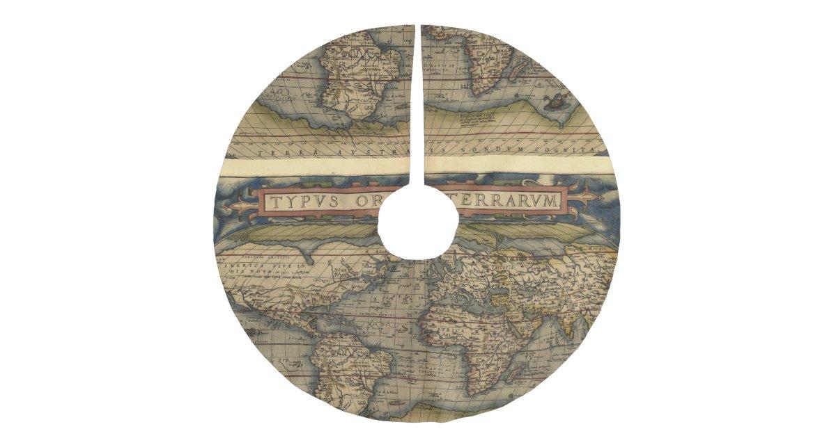 Vintage World Map Antique Atlas Brushed Polyester Tree Skirt
