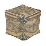 Vintage World Map Antique Atlas Cube Pouf