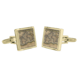 Vintage World Map Antique Atlas Cufflinks