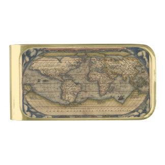 Vintage World Map Antique Atlas Gold Finish Money Clip