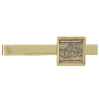Vintage World Map Antique Atlas Gold Finish Tie Bar