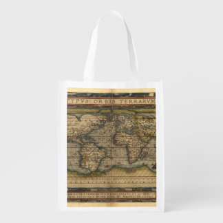 Vintage World Map Antique Atlas Grocery Bag