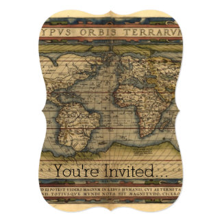 Vintage World Map Antique Atlas Personalized Invites