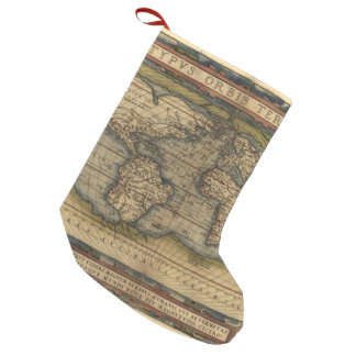 Vintage World Map Antique Atlas Small Christmas Stocking