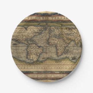 Vintage World Map Antique Atlas 7 Inch Paper Plate