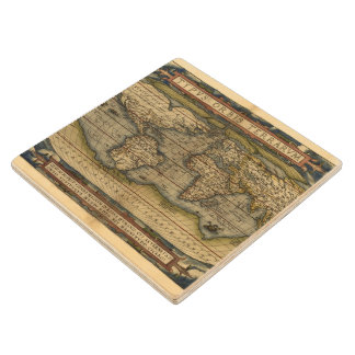Vintage World Map Antique Atlas Wood Coaster