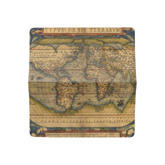 Vintage World Map Antique Travel Checkbook Cover