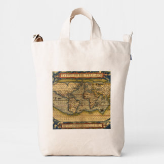 Vintage World Map Antique Travel Duck Bag