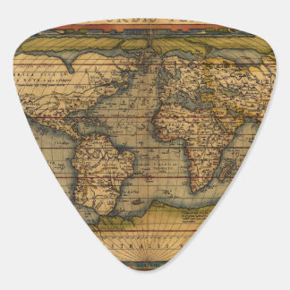 Vintage World Map Antique Travel Guitar Pick