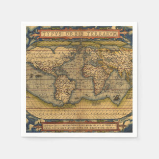 Vintage World Map Antique Travel Napkin