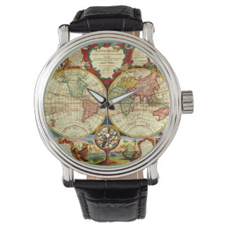 Vintage World Map Antique Vacation Travel Trip Art Watch