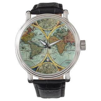 Vintage World Map Antique Vacation Travel Trip Art Wrist Watch