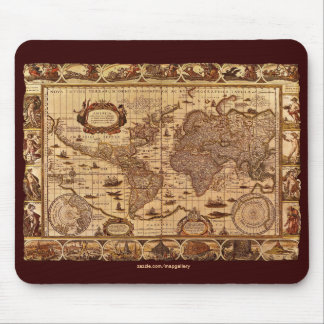 Vintage World Map Art Collection Mouse Pad