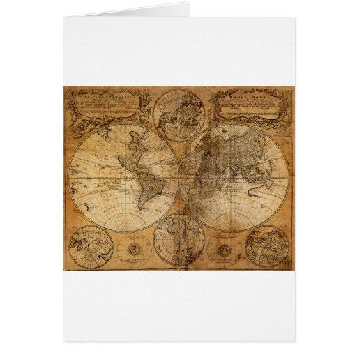 Vintage World Map Atlas Greeting Card
