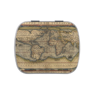 Vintage World Map Atlas Historical Candy Tin
