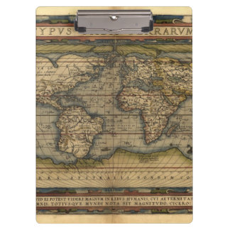 Vintage World Map Atlas Historical Clipboard