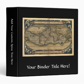 Vintage World Map Atlas Historical Design 3 Ring Binder