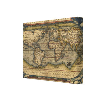 Vintage World Map Atlas Historical Design Canvas Print