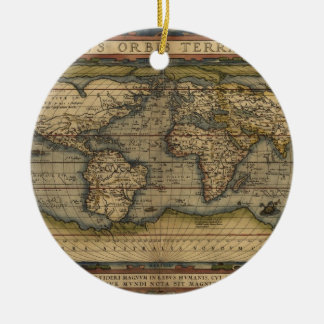Vintage World Map Atlas Historical Design Ceramic Ornament