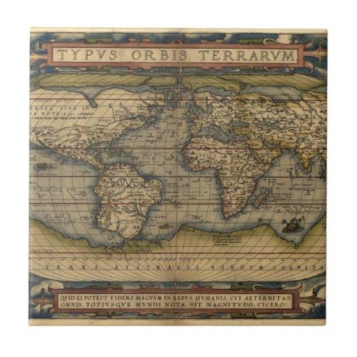Vintage World Map Atlas Historical Design Ceramic Tile