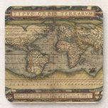 Vintage World Map Atlas Historical Design Drink Coasters