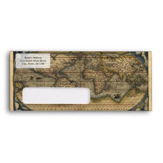 Vintage World Map Atlas Historical Design Envelope