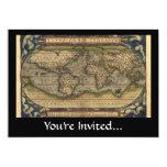 Vintage World Map Atlas Historical Design Custom Announcements