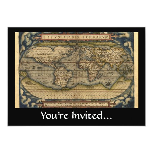 Vintage World Map Atlas Historical Design 5x7 Paper Invitation Card