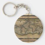 Vintage World Map Atlas Historical Design Basic Round Button Keychain
