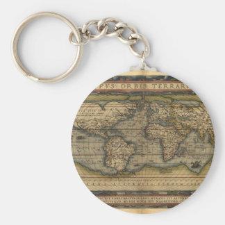 Vintage World Map Atlas Historical Design Keychain