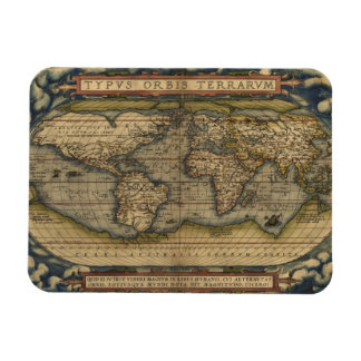 Vintage World Map Atlas Historical Design Magnet