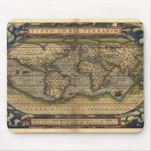 Vintage World Map Atlas Historical Design Mouse Pads