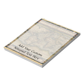 Vintage World Map Atlas Historical Design Notepad
