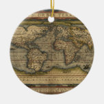 Vintage World Map Atlas Historical Design Double-Sided Ceramic Round Christmas Ornament