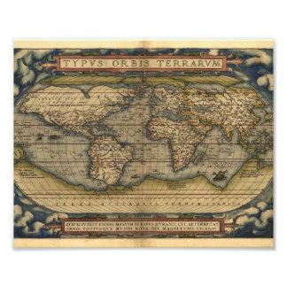 Vintage World Map Atlas Historical Design Photo Print