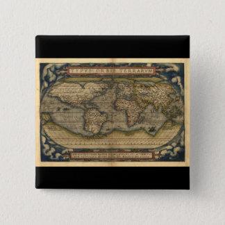 Vintage World Map Atlas Historical Design Pinback Button