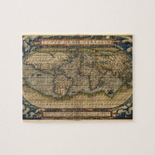 Vintage World Map Atlas Historical Design Puzzle