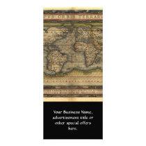 Vintage World Map Atlas Historical Design Rack Card