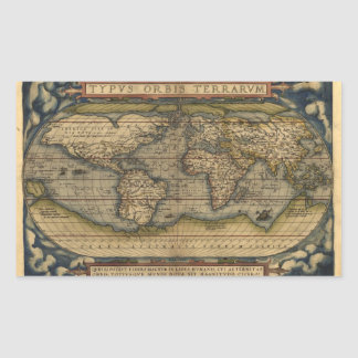 Vintage World Map Atlas Historical Design Rectangular Sticker